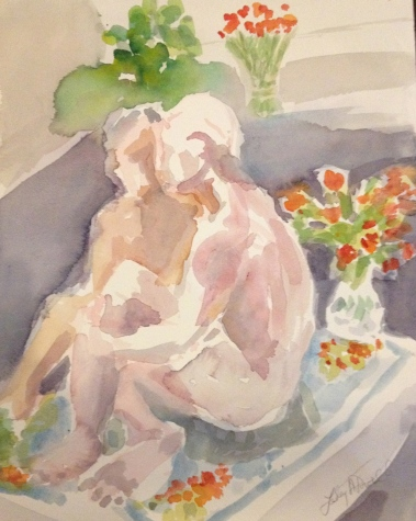 Couple w. Flowers Watercolor by Lesley A. Powell 12 x 16 $175