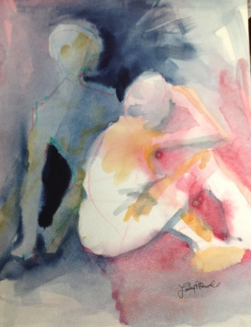 Behind You Watercolor by Lesley A. Powell 12 x 9 $175