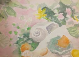 Shell and flowers Watercolor by Lesley A. Powell 12 x 16 $175