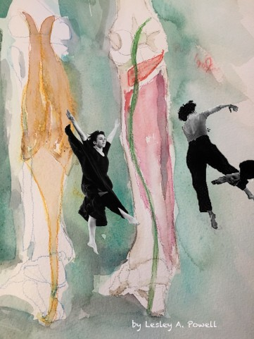 Anatomy Dances Watercolor and photo collage by Lesley A. Powell 9x12 $25