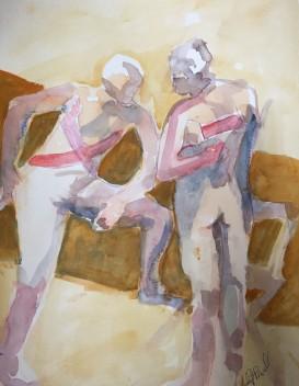 Serape - Anatomy Dances Watercolor by Lesley A. Powell 11 x 15 $150