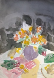 Vase w. Flowers Watercolor by Lesley A. Powell 9x12 $100