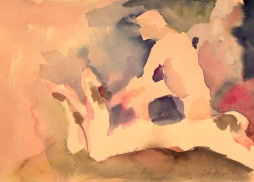 Lounging around 3 Watercolor by Lesley A. Powell 9x12 $100