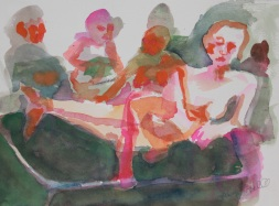 Lounging around with many Watercolor and gouache by Lesley A. Powell 9x12 $100