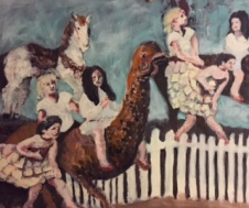 Merry Go Round Oil painting by Lesley A. Powell 20 x 16 $800