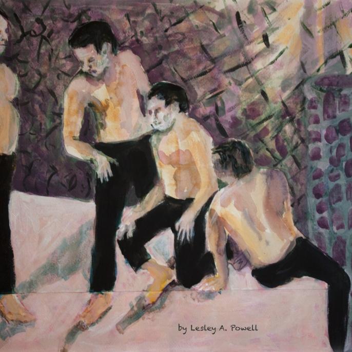 Four Men on Pink floor