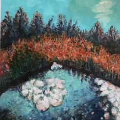 Triangular Pond Oil Painting fall 2017 by Lesley A. Powell